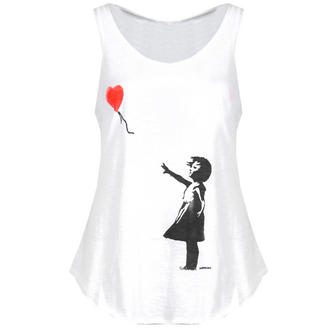 View Item White Banksy Print Vest Top